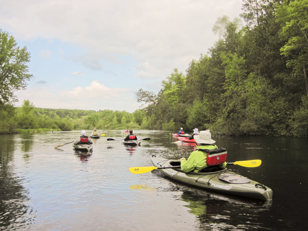 Visitors on a birding paddle on the Upper Namekagon River