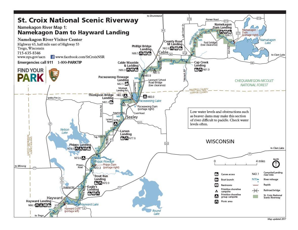 Namekagon River Map 1
