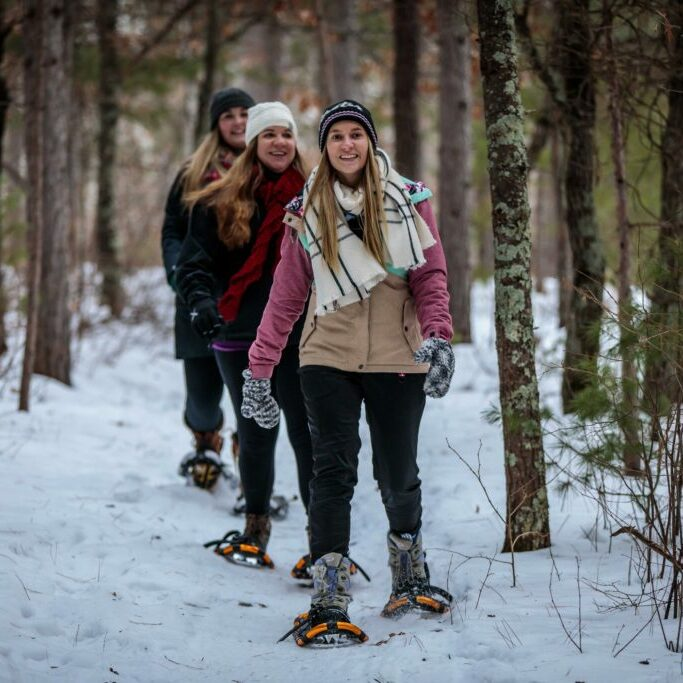 Snowshoe hike on Trego Nature Trail